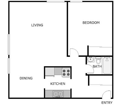 Floor Plan, 1 Bed, 1 Bath
