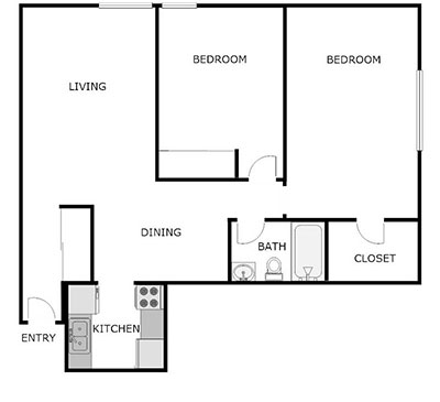 Floor Plan, 2 Bed, 1 Bath
